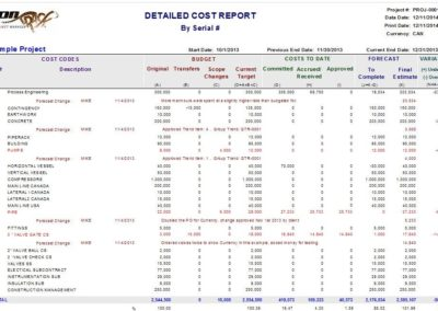 Detailed Cost Report (by serial number)
