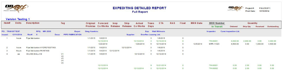Inspection Assignments Report
